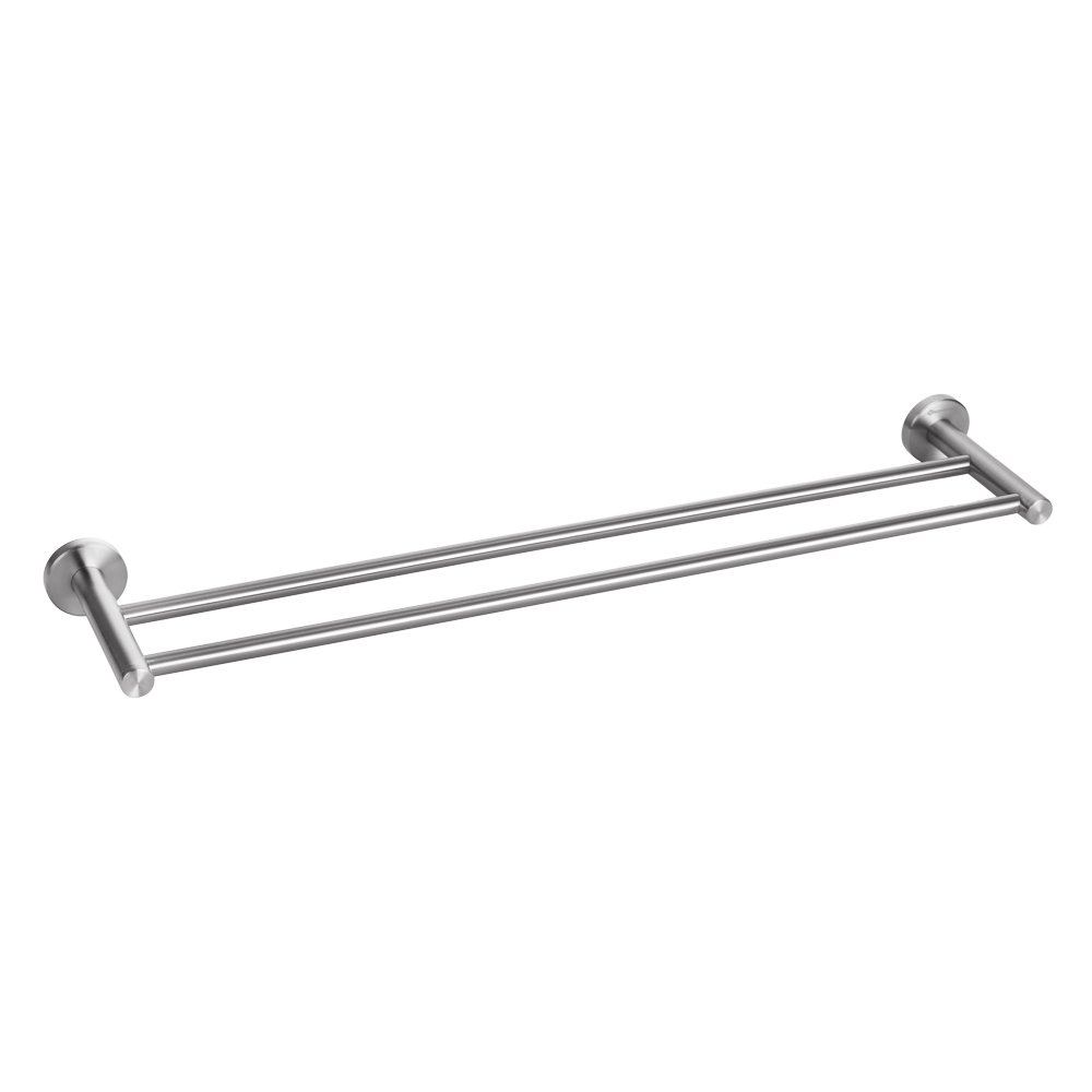 HOMEIDEAS 24-Inch Bathroom Double Towel Bar SUS304 Stainless Steel Lavatory Towel Rack Hotel Style Towel Shelf Wall Mount Double Towel Hanger,Polished Finish