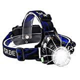 GRDE Headlamp, Rechargeable Led Headlamp Headlight Flashlight 3 Modes with Adjustable Thick Head Strap for Camping Hiking Fishing BBQ Repairing Night Walking Morning Running(Purple)