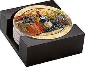Thirstystone Stoneware Coaster Set, Gift Set, - Wine Picnic - HA42