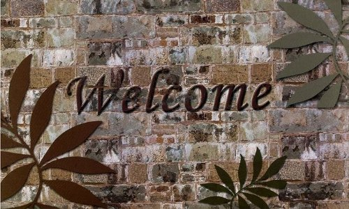 Ben&Jonah AchimHF-RM1830WP06 Park Avenue Collection Welcome Palms Outdoor Rubber Entrance Mat 18 in. x 30 in. in, Multi ()