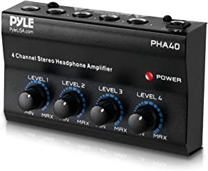 "4-Channel Portable Stereo Headphone Amplifier - Professional Multi Channel Mini Earphone Splitter Amp w/ 4 ¼"" Balanced TRS Headphones Output Jack and 1/4"" TRS Audio Input For Sound Mixer - Pyle PHA40"