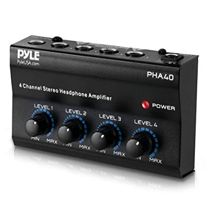 """4-Channel Portable Stereo Headphone Amplifier - Professional Multi Channel  Mini Earphone Splitter Amp w/ 4 ¼"""" Balanced TRS Headphones Output Jack and"""