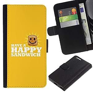 LECELL--Cuero de la tarjeta la carpeta del tirón Smartphone Slots Protección Holder For Apple Iphone 6 PLUS 5.5 -- Feliz Sandwich divertido Lol --