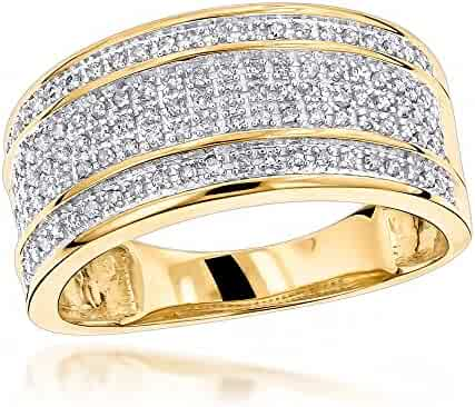 4c2f62a6ca4 Luxurman Unique Wedding Bands 10K Gold Five Row Natural 0.4 Ctw Diamond Ring  For Men