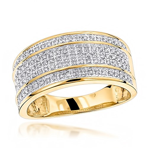 Gold Unique Diamond Eternity Band (Luxurman Unique Wedding Bands 10K Five Row Natural 0.4 Ctw Diamond Ring For Men (Yellow Gold Size 9))