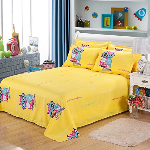 SDIII 4Pieces Owl Bedding Sheet Sets Full/Queen Size Animal Themed Bedding Flat Sheet, Fitted Sheet Pillowcase Boys, Girls Kids