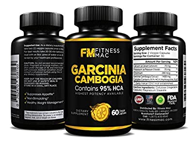 Pure Garcinia Cambogia Extract with 95% HCA - Carb Blocker, Appetite Suppressant and Weight Loss Supplement with eBook, 60 Capsule