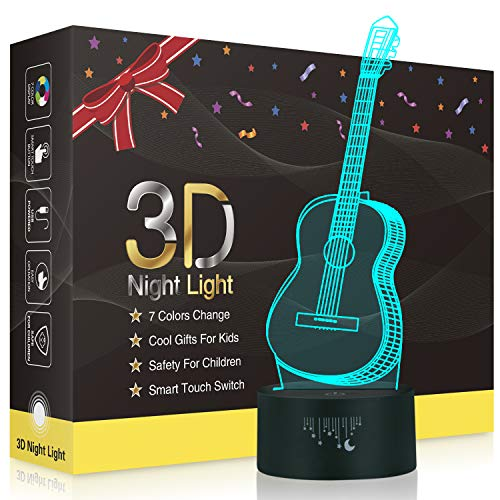 Guitar 3D LED Optical Illusion Lamps, Rquite 7 Color Change Touch Switch Art Sculpture Lights LED Desk Table Night Light Awesome Gift