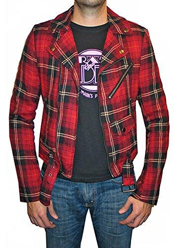 Tripp Motorcycle Biker Moto Punk Rocker Plaid Flannel Jacket (L) (Plaid Moto Jacket)