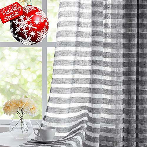 Fragrantex Striped White and Grey Sheer Curtains for Living Room,Linen Horizontal Stripe Curtain Voile Grommet Top 40x 84 Inch 2 Panels (& White Curtains Grey)