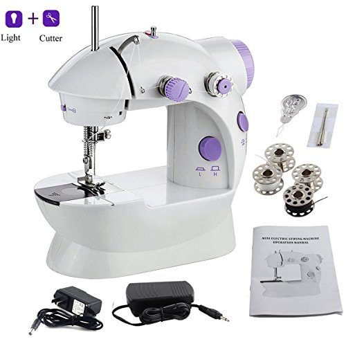 AMLINKER 202 Mini Sewing Machine, Portable Electric Crafting Mending Machine 2-Speed Double Thread, Double Speed, Foot Pedal for Household Travel Beginner