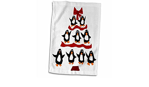 3D Rose Image of Adorable Christmas Penguin with Presents Hand Towel 15 x 22