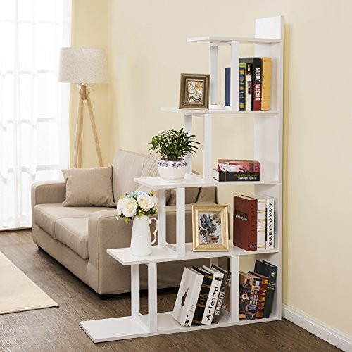 Tribesigns 5-Shelf Ladder Corner Bookshelf, Modern Simplism Style 67 '' H x 14.2'' W x 7.5''L, Made of Steel and Wood, for Living Room or Hallway (White) by Tribesigns (Image #1)