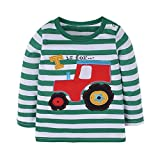 Warmbaby Toddler Boys Kids Long Sleeve T-shirts 3T Striped Tractor