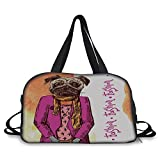Trunk,Pug,Fashion Icon Dog with Cool Clothes Scarf Necklace Jacket Handbag Tainted Background,Hot Pink Amber,Picture Print