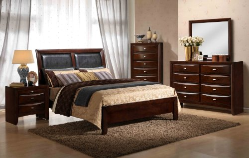 Roundhill Furniture Emily 111 Contemporary Wood Bedroom Set With Bed,  Dresser, Mirror, Night Stand, Chest, King, Merlot Design Inspirations