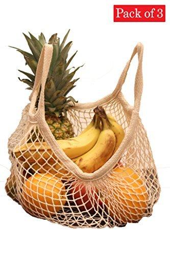 All Natural Market - EuroSac Natural Cotton String Bag (3, Short Handle)