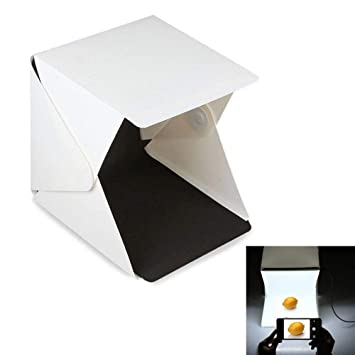 Caja de luz fotográfica, fotografía iluminación con LED Light Room Light Box Kit, Mini Foldable Photo Studio, Dos blackgrounds (blanco y negro): Amazon.es: ...