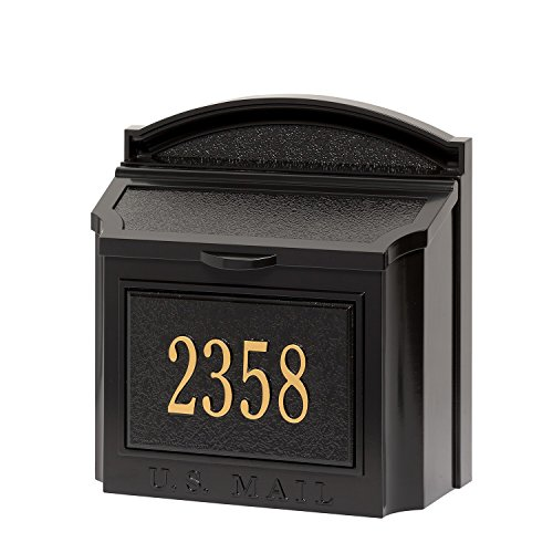 Whitehall Custom Wall Mount Mailbox Package - House Number and Street Name - Sand Cast Aluminum - Black Personalized in Goldtone ()