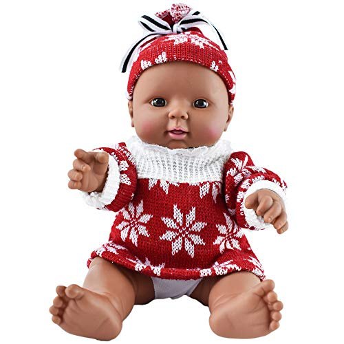 """Search : HiPlay 12"""" Soft African American Baby Doll -Realistic Silicone Vinyl Body with Cute Outfit, Newborn Baby Dolls for Kids, Toddlers (A)"""