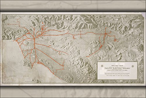 Railway Map Electric Pacific (42x63 Poster; Relief Map Of Territory Served By Lines Of The Pacific Electric Railway In Southern California; Largest Electric Railway System In The World 1920)