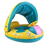 #10: WINOMO Baby Swimming Float Boat with Sunshade Seat with Horn - Yellow