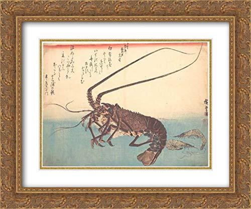 Utagawa Hiroshige - 36x28 Gold Ornate Frame and Double Matted Museum Art Print - Ise-EBI and Shiba-EBI, from The Series Uozukushi (Every Variety of Fish)