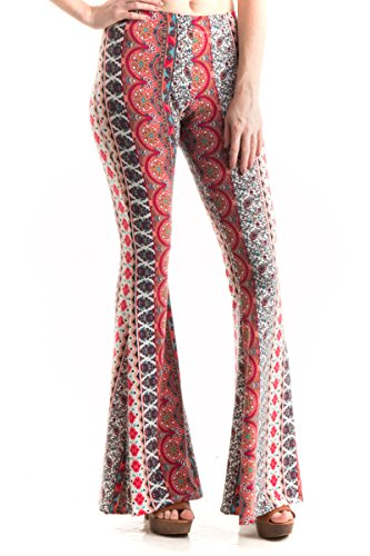 Fashionomics Womens Boho Comfy Stretchy Bell Bottom Flare Pants