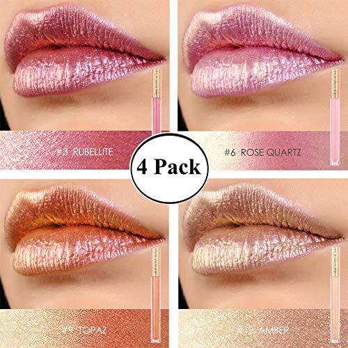 (Lipstick Set for Women Focallure Sparkly Metallic Makeup Lip Gloss Glossier Glitter Lipgloss 4 Pcs)