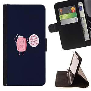 BullDog Case - FOR/Apple Iphone 5C / - / Rub Me On Your Butt Soap - Funny /- Monedero de cuero de la PU Llevar cubierta de la caja con el ID Credit Card Slots Flip funda de cuer