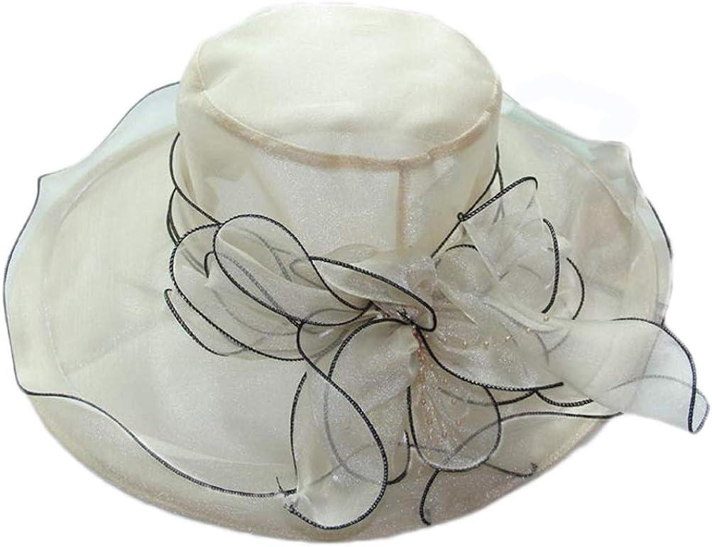 Ealafee Womens Wide Brim Organza Sun Hat UV Protection Travel Beach Caps UPF50+