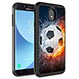 Galaxy J7 2018/J7 Refine/J7 Star/J7 TOP/ J7 Aero/J7 Eon Case,Rossy Hybrid TPU Plastic Dual Layer Armor Defender Protection Case for Samsung Galaxy J7 2018,Thunder Water Fire Soccer Ball