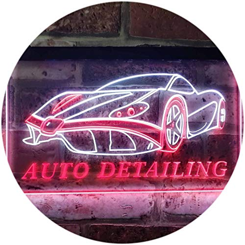(ADVPRO Auto Detailing Car Repair Garage Dual Color LED Neon Sign White & Red 12 x 8.5 Inches)