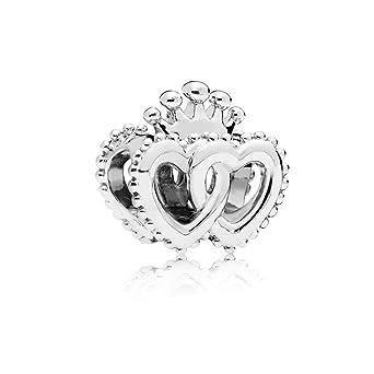 size 40 34c1d c7196 Amazon.com: Pandora United Regal Hearts Sterling Silver ...