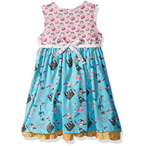 Jelly the Pug Little Girls' Spring in Paris Hannah Dress, Multi, 5