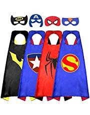 Superhero Cape for Kids, Double-Sided Satin Capes and Felt Mask for Dress Up Costumes- Best Gifts for Boys and Girls Blue