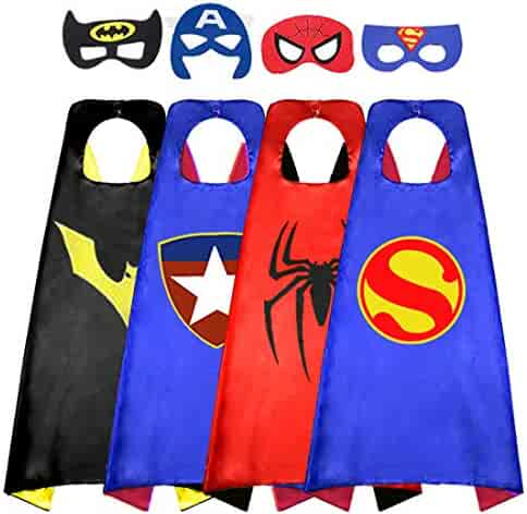 Superhero Cape for Kids, Double-Sided Satin Capes and Mask for Dress Up Costumes (4 Capes) Blue