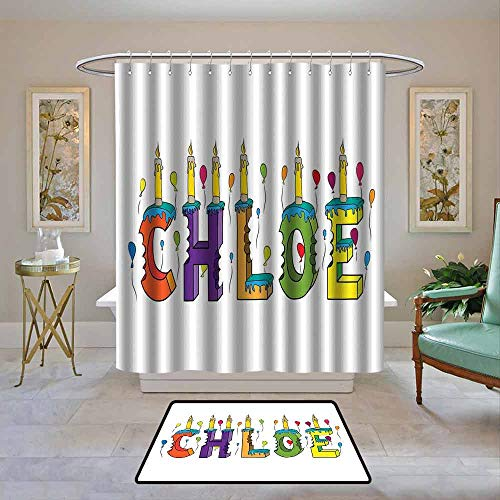 Waterproof Fabric Shower Curtain Chloe,Lettering with Cheerful Bitten Cake Candles Girly Birthday Party Design First Name,Multicolor,Machine Washable - Shower Hooks are Included 108