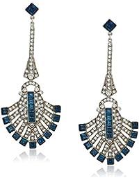 """Deco"" Swarovski Crystal Sapphire Deco Fan For Bridal Wedding Anniversary Drop Earrings"