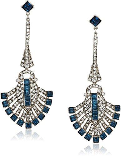 Ben-Amun Jewelry ''Deco'' Swarovski Crystal Sapphire Deco Fan For Bridal Wedding Anniversary Drop Earrings by Ben-Amun Jewelry