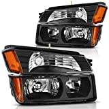 Headlight Assembly for 2002 2003 2004 2005 2006 Chevy Avalanche Pickup with Body Cladding Models, Bumper Lights Included, Black Housing
