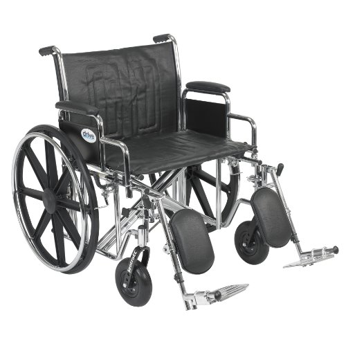 Drive Medical Sentra EC Heavy Duty Wheelchair with Various Arm Styles and Front Rigging Options, Black, Bariatric, 24 Inch
