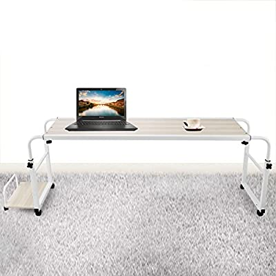 SucceBuy Overbed Laptop Table 39.4 Inch Overbed Trolley Computer Table With Wheel Cart Computer Table Adjustable With Mainframe Box Pallet