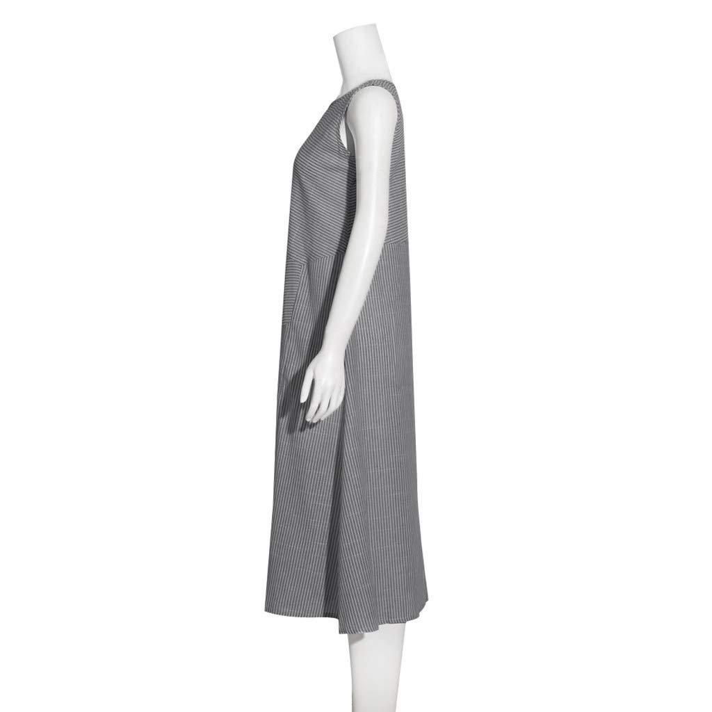 Fashion Long Dresses for Women Summer Linen Stripe Sleeveless Crew Neck Dress Ladies Casual Loose Pocket Sun Dresses