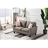 Living room sofa bedroomwith rubber wood contemporary upholstered large (72, Gray)