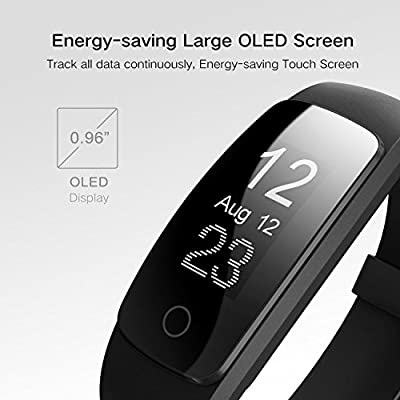 Fitness Tracker Watch HR, Activity Health Tracker with Wristband Heart Rate Monitor, Wireless Pedometer Waterproof Bluetooth Smart Bracelet Band Sleep Monitor for Android IOS Smartphone …