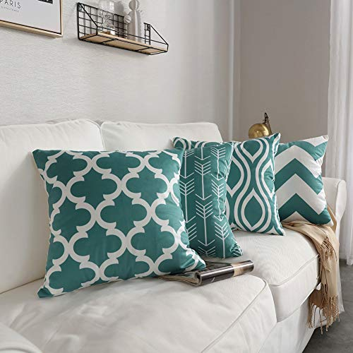 FanHomcy Set of 4 Throw Pillow Covers Geometric Pattern Teal Quatrefoil Arrow Ogee Chevron Luxury Decorative Pillow Cases Home Decor Square 18x18 Inches Pillowcases (Decorative Chevron Pillows)