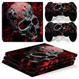 Consoles Ps4 Best Deals - OKPOW Skull Flame Vinyl Decal Skin Sticker for PS4 Pro Console and Controller Full Cover (Red Skull)