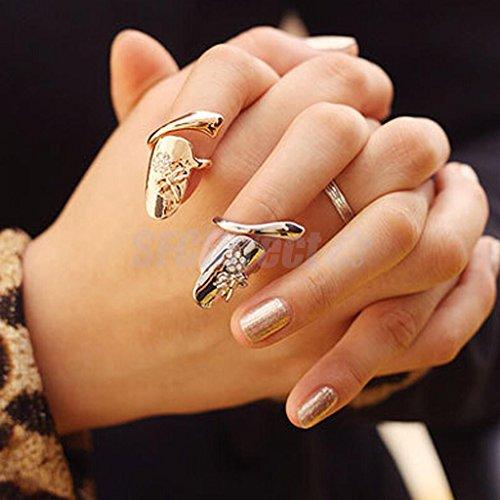 Women Punk Dragonfly Flower Rhinestone Jewelry Finger Tip Nail Ring (Gold Tip Flower Ring)