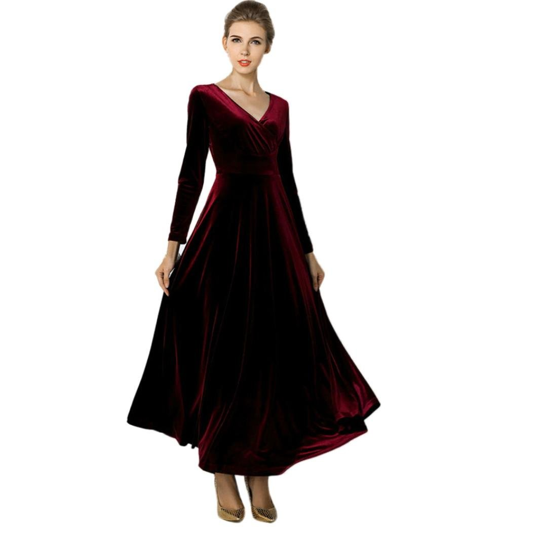 Clearance!Hot Sale!Women Dress Daoroka Sexy Plus Size V Neck Velvet Swing Casual Evening Party Ball Gown Maxi Long Ankle Skirt (2XL, Wine)